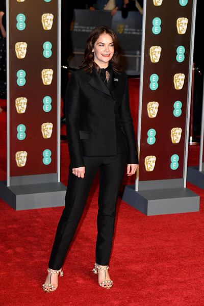 More Pics of Ruth Wilson Evening Sandals (3 of 4) - Heels Lookbook - StyleBistro [red,flooring,suit,carpet,formal wear,red carpet,fashion,outerwear,fashion model,blazer,red carpet arrivals,ruth wilson,ee,england,london,royal albert hall,british academy film awards]
