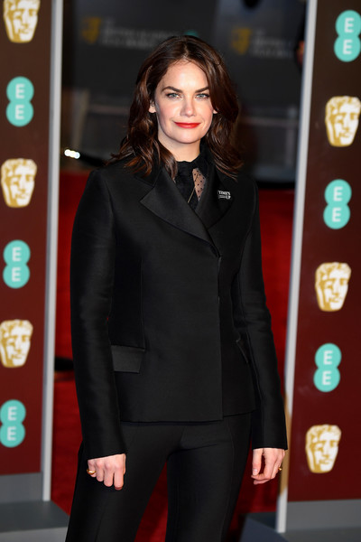 More Pics of Ruth Wilson Evening Sandals (4 of 4) - Heels Lookbook - StyleBistro [clothing,suit,formal wear,outerwear,fashion,pantsuit,tuxedo,red carpet,carpet,long hair,red carpet arrivals,ruth wilson,ee,england,london,royal albert hall,british academy film awards]