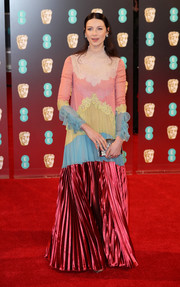 Caitriona Balfe embraced color with this multi-paneled gown gown by Valentino for her 2017 BAFTAs look.