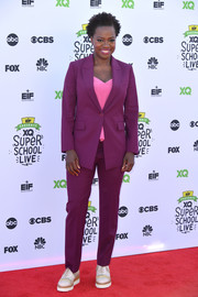 Viola Davis' purple suit and pink top at the XQ Super School live made a lovely color combo!