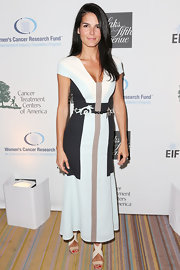 Angie Harmon chose a color-blocked dress in a pale blue for her look while out in Beverly Hills.