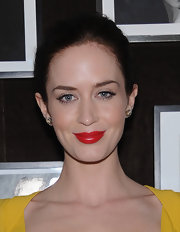 Emily Blunt wore a bold cherry red lipstick at an Elie Saab private dinner in NYC.