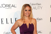 Erika Christensen Wears A Purple Strapless Dress