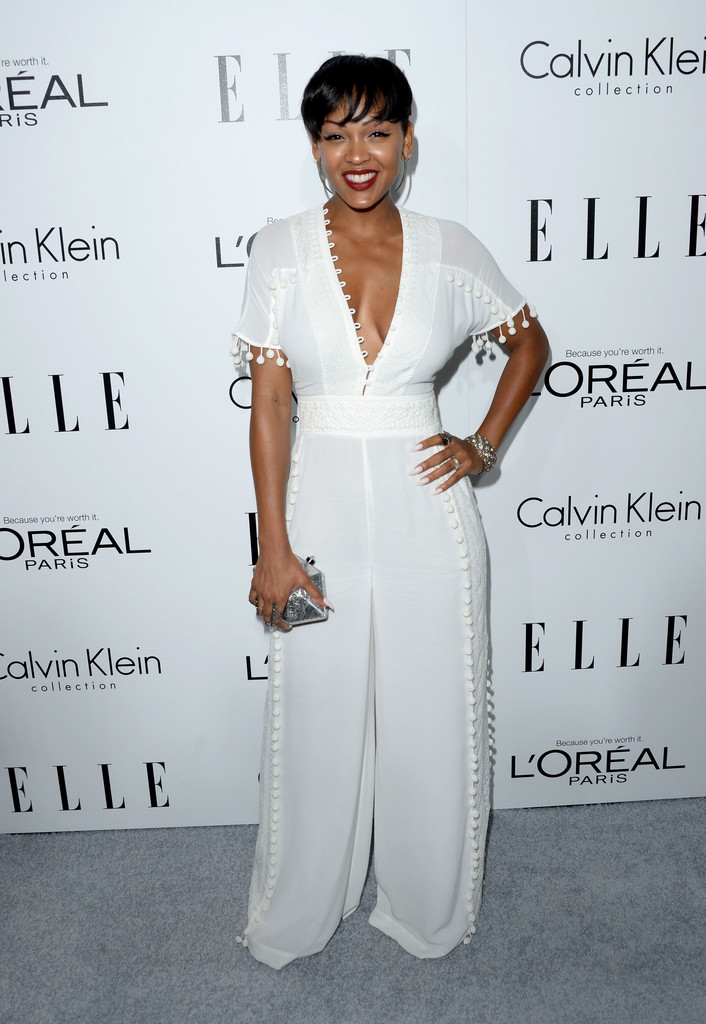 Meagan Good In A White Jumpsuit Best Dressed At Elle S