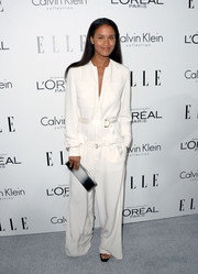 Joy Bryant wasn't afraid to wear this baggy white Calvin Klein jumpsuit at the Elle Women in Hollywood celebration.