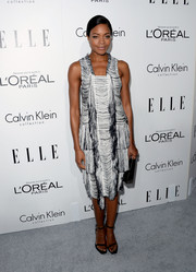 Naomie Harris stood out in an unconventional fringed black-and-white dress by Calvin Klein during the Elle Women in Hollywood celebration.
