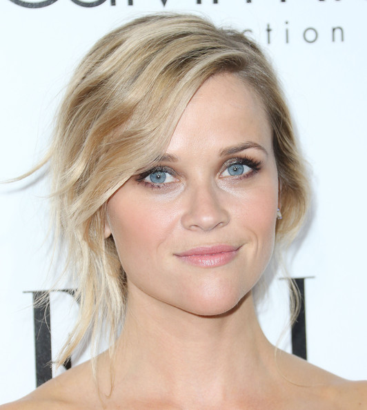 Reese Witherspoon's romantic bun and rosy cheeks