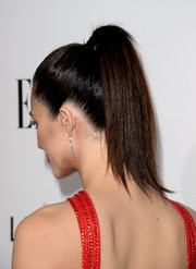 Emmy Rossum pulled her hair up in a sleek ponytail for the Elle Women in Hollywood celebration.