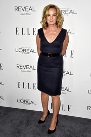 Jessica Lange donned a cleavage-baring midnight-blue dress by Calvin Klein for the Elle Women in Hollywood event.