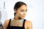 Ashley Madekwe pulled her hair back into a sleek center-parted ponytail for the Elle Women in Hollywood event.