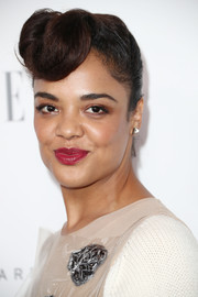 Tessa Thompson worked a vintage vibe with this '40s-style updo during Elle's Women in Hollywood celebration.