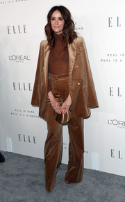 Abigail Spencer went masculine-chic in a brown velvet pantsuit by Max Mara during Elle's Women in Hollywood celebration.
