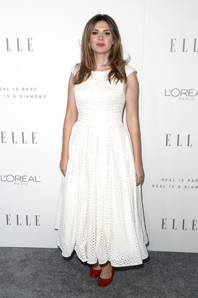 Carly Steel kept it girly in a white eyelet maxi dress during Elle's Women in Hollywood celebration.