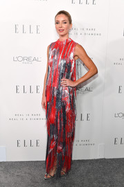 Annabelle Wallis worked a metallic fringed gown by Erdem during Elle's Women in Hollywood celebration.