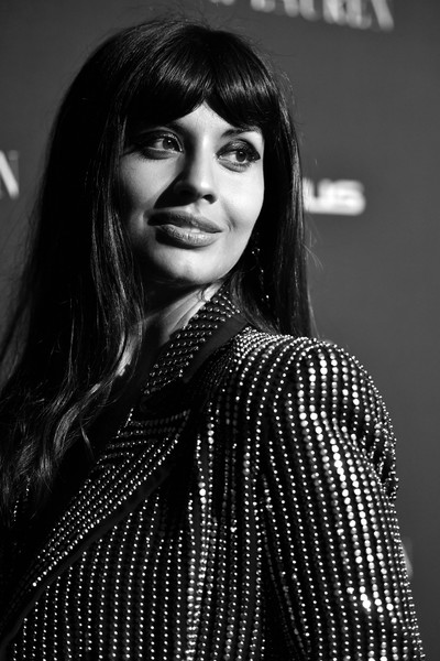More Pics of Jameela Jamil Long Wavy Cut with Bangs (1 of 8) - Long Hairstyles Lookbook - StyleBistro [image,hair,face,black,lip,black-and-white,beauty,hairstyle,lady,fashion,monochrome,lexus - arrivals,ralph lauren,26th annual women in hollywood celebration,jameela jamil,los angeles,the four seasons hotel,california,beverly hills,elle]