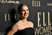 Natalie Portman opted for a center-parted ponytail when she attended the 2019 Elle Women in Hollywood celebration.