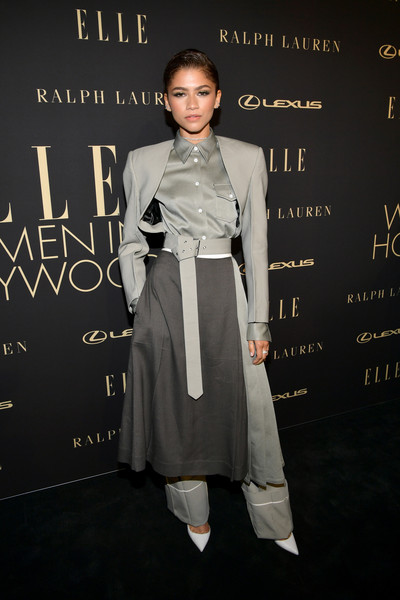 Zendaya Coleman made a bold statement with this gray Peter Do skirt suit/pantsuit hybrid at the 2019 Elle Women in Hollywood celebration.
