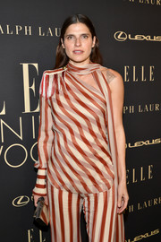 Lake Bell accessorized with a gold box clutch by Edie Parker at the 2019 Elle Women in Hollywood celebration.