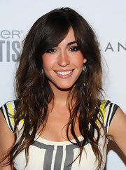 Kate Voegele paired her red carpet look with long cascading curls.
