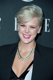 Betty Who sported a blonde fauxhawk at the 2014 Elle Women in Music celebration.