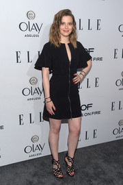 Gillian Jacobs hovered between sweet and edgy at the Elle Women in Television dinner in a David Koma LBD featuring a zipper front and flutters sleeves.