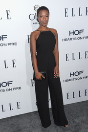 Samira Wiley opted for a simple yet sophisticated Black Halo jumpsuit for the Elle Women in Television dinner.