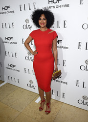 Tracee Ellis Ross looked ravishing in red at ELLE's Annual Women in Television Celebration wearing a fitted number with a quirky shoulder cutout.