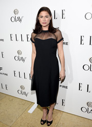 Maura Tierney's Maggy London LBD was vamped up with a sexy mesh collar and sleeves at ELLE's Annual Women in Television Celebration.
