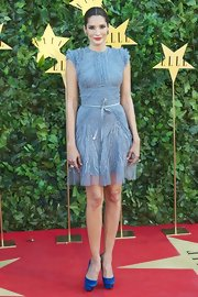 Astrid Monoz was true blue at the 'Elle' Awards in cobalt satin Paloma platforms.