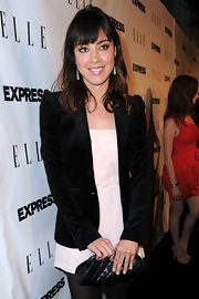 Actress Aubrey Plaza attended the ELLE and Express 25 at 25 event wearing oxidized sterling silver pave diamond teardrop earrings.