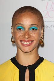 Adwoa Aboah rocked a buzzcut and turquoise eyeshadow at the Elle List 2018.