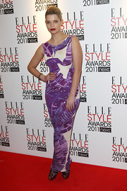 Pixie opted for a creative tropical leaf print evening dress for the Elle Style Awards in London.