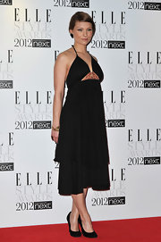 Myanna Buring wore a black halter dress to the Elle Style Awards.