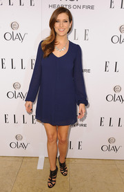 Kate Walsh made a demure choice with this long-sleeve blue shift during the Elle Women in Television celebration.