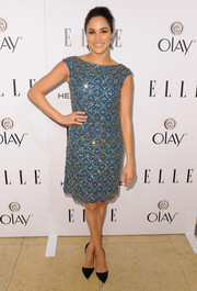 Meghan Markle chose a sparkly, '20s-chic blue dress for the Elle Women in Television celebration.