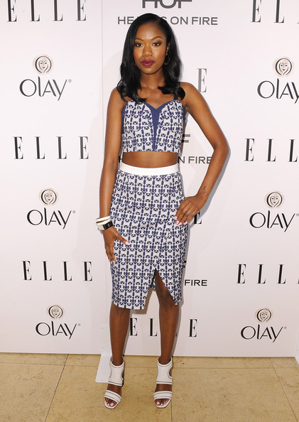 Xosha Roquemore went for a matchy-matchy look, teaming her top with a pencil skirt with the same print.