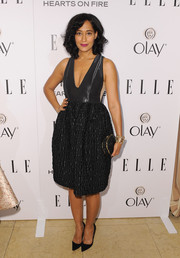 Tracee Ellis Ross showed a bit of cleavage in a low-cut, multitextured LBD by Honor during the Elle Women in Television celebration.