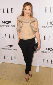 Sasha Alexander looked ultra girly in a nude ruffle blouse during the Elle Women in Television celebration.