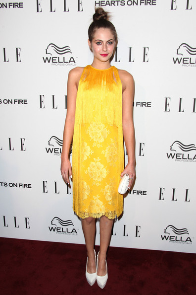 Willa Holland had fun at the Women in Television Celebration in this yellow fringed number.