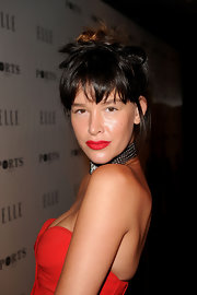 Paz de la Huerta attended the Elle Women in Television event with her hair piled on top of her head in a messy-chic style.