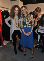 Sarah Jessica Parker looked ladylike in black Boulima watersnake pumps.