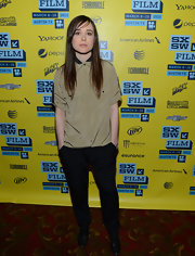 Ellen Page sported classic black slacks with a baggy top for a funky, tomboy look at SXSW.