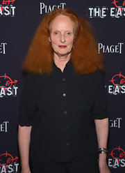 Grace Coddington kept it basic in a black button-down when she attended the premiere of 'The East.'