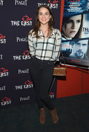 Maya Kazan paired black skinny jeans with a checkered button-down for the premiere of 'The East.'