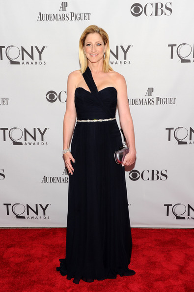 Edie Falco Evening Dress [dress,clothing,red carpet,shoulder,carpet,hairstyle,premiere,a-line,strapless dress,fashion,arrivals,edie falco,tony awards,beacon theatre,new york city,65th annual tony awards]