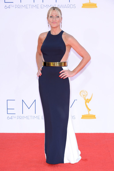 Edie Falco Evening Dress [red carpet,carpet,clothing,dress,yellow,fashion,flooring,waist,premiere,shoulder,arrivals,edie falco,california,los angeles,nokia theatre l.a. live,primetime emmy awards]