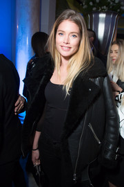Doutzen Kroes arrived for the Editorialist Spring 2016 issue launch wearing a bulky fur-lined leather jacket.
