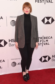 Bryce Dallas Howard teamed a gray houndstooth blazer with a black turtleneck and skinny jeans for the 2018 Tribeca Film Festival screening of 'Egg.'