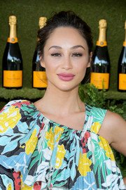 Cara Santana rocked a disheveled updo at the Veuve Clicquot Polo Classic.