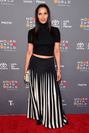 Padma Lakshmi paired her sweater with a black-and-white maxi skirt.
